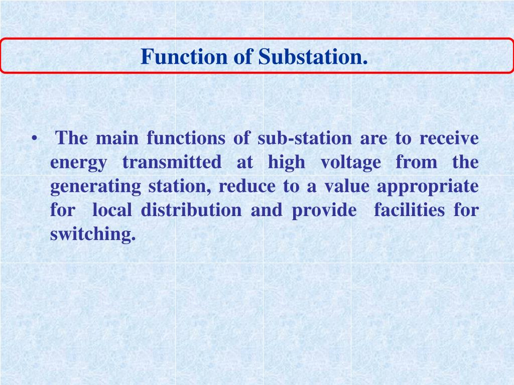 Function of Substation.