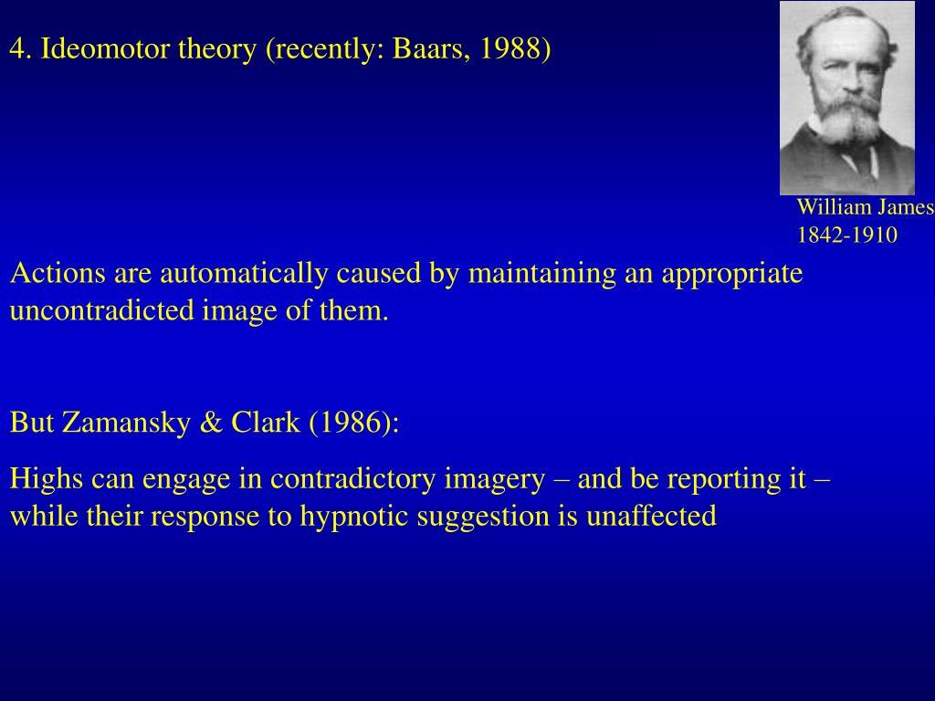 4. Ideomotor theory (recently: Baars, 1988)