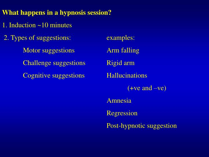 What happens in a hypnosis session?