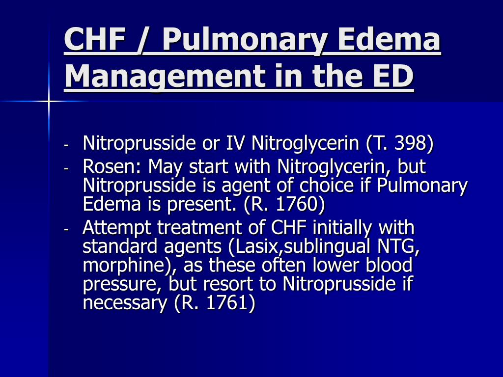 CHF / Pulmonary Edema Management in the ED
