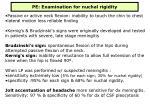 pe examination for nuchal rigidity