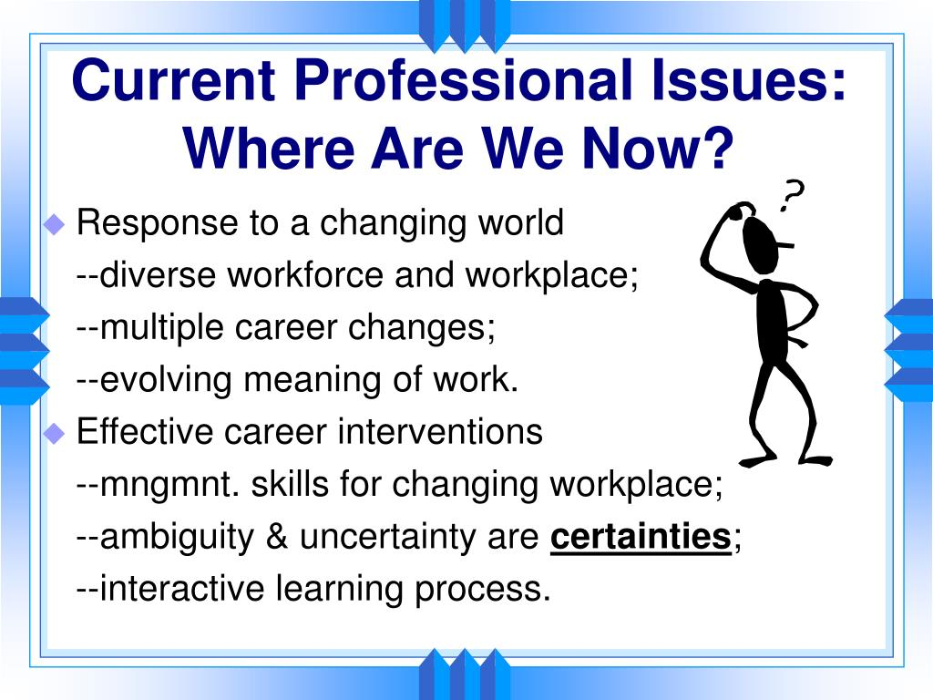 Current Professional Issues:  Where Are We Now?
