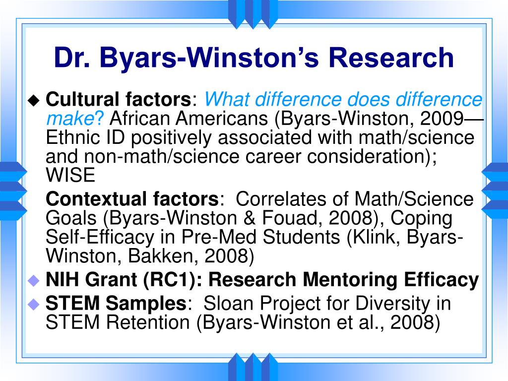 Dr. Byars-Winston's Research
