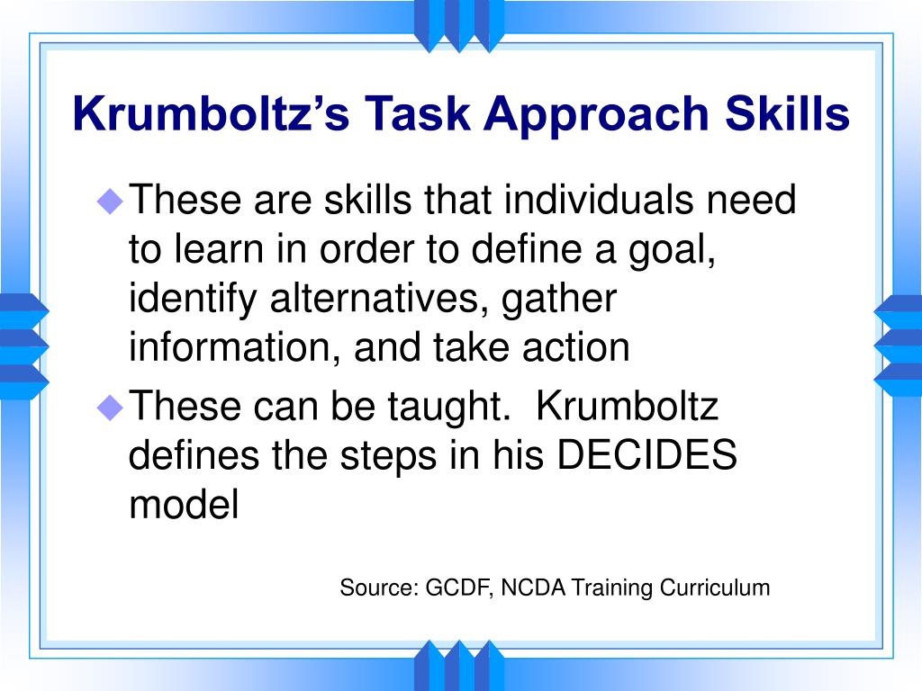 Krumboltz's Task Approach Skills