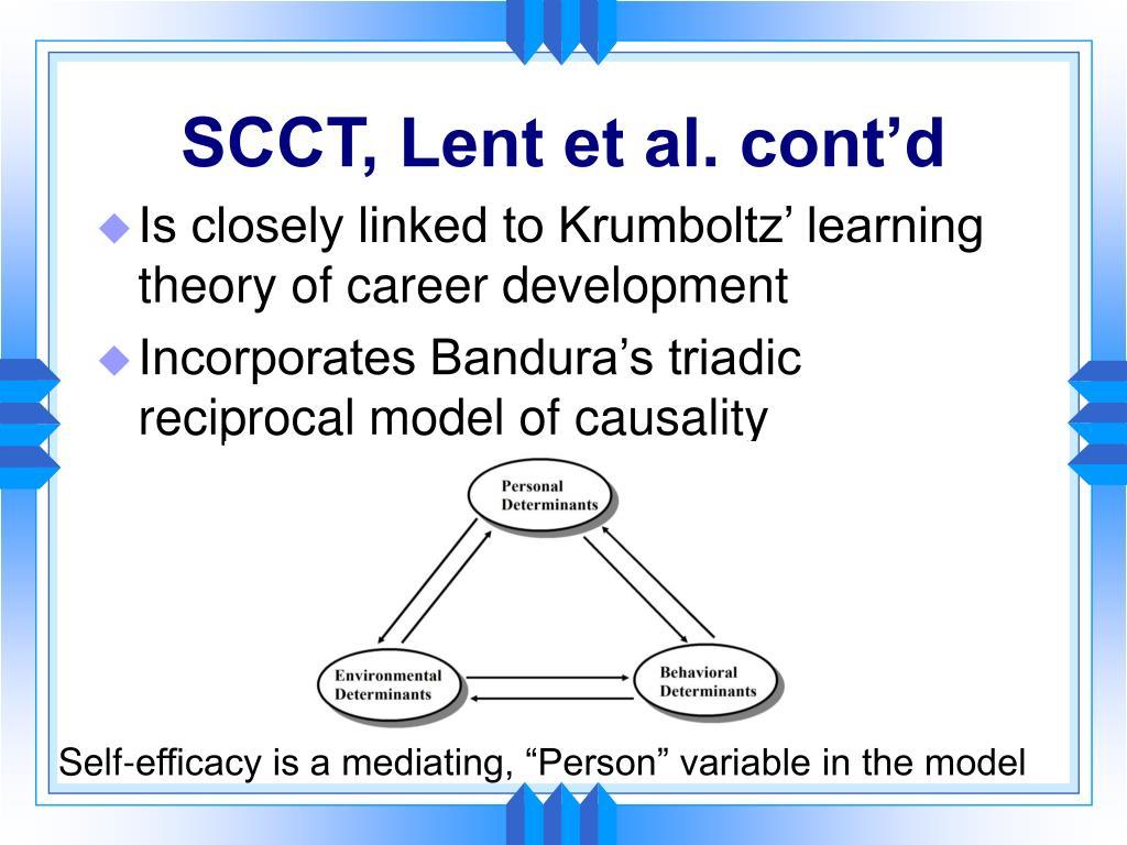 SCCT, Lent et al. cont'd