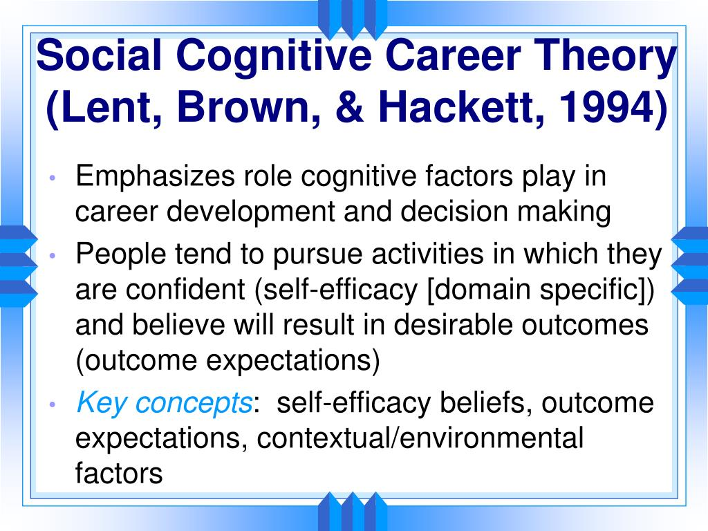 Social Cognitive Career Theory (Lent, Brown, & Hackett, 1994)