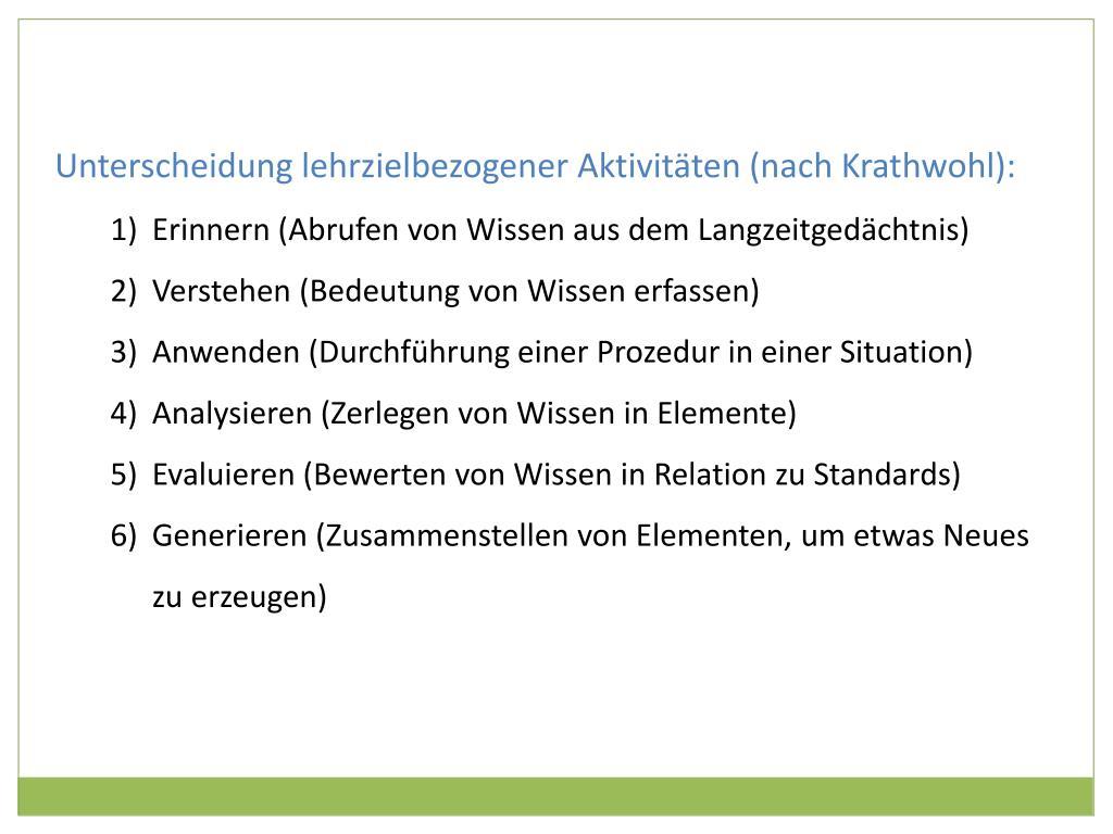 Unterscheidung lehrzielbezogener Aktivitäten (nach Krathwohl):
