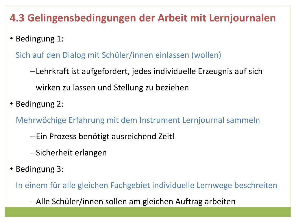 4.3 Gelingensbedingungen der Arbeit mit Lernjournalen