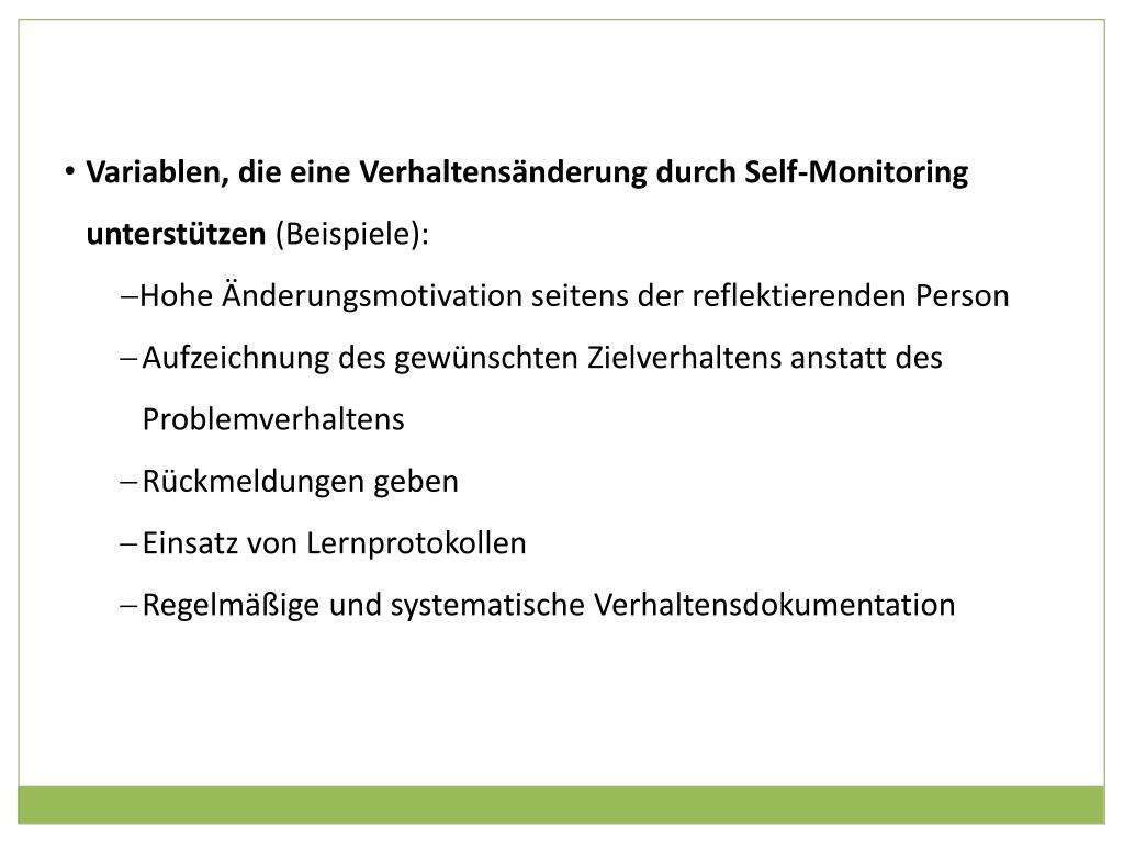 Variablen, die eine Verhaltensänderung durch Self-Monitoring unterstützen