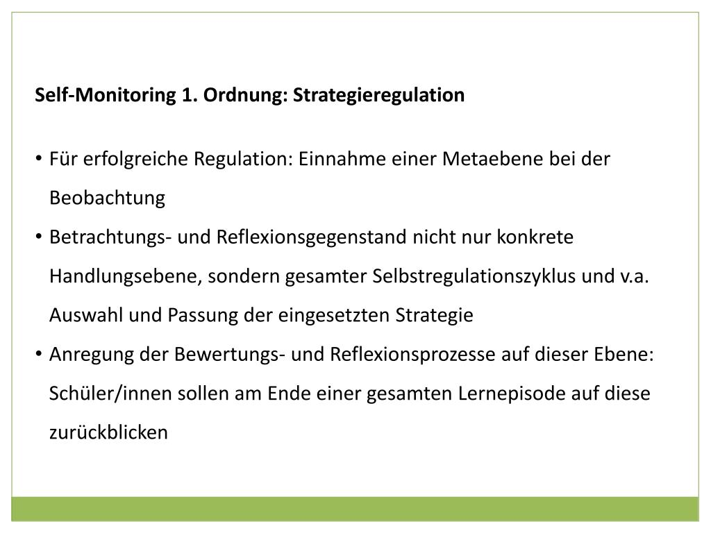 Self-Monitoring 1. Ordnung: Strategieregulation