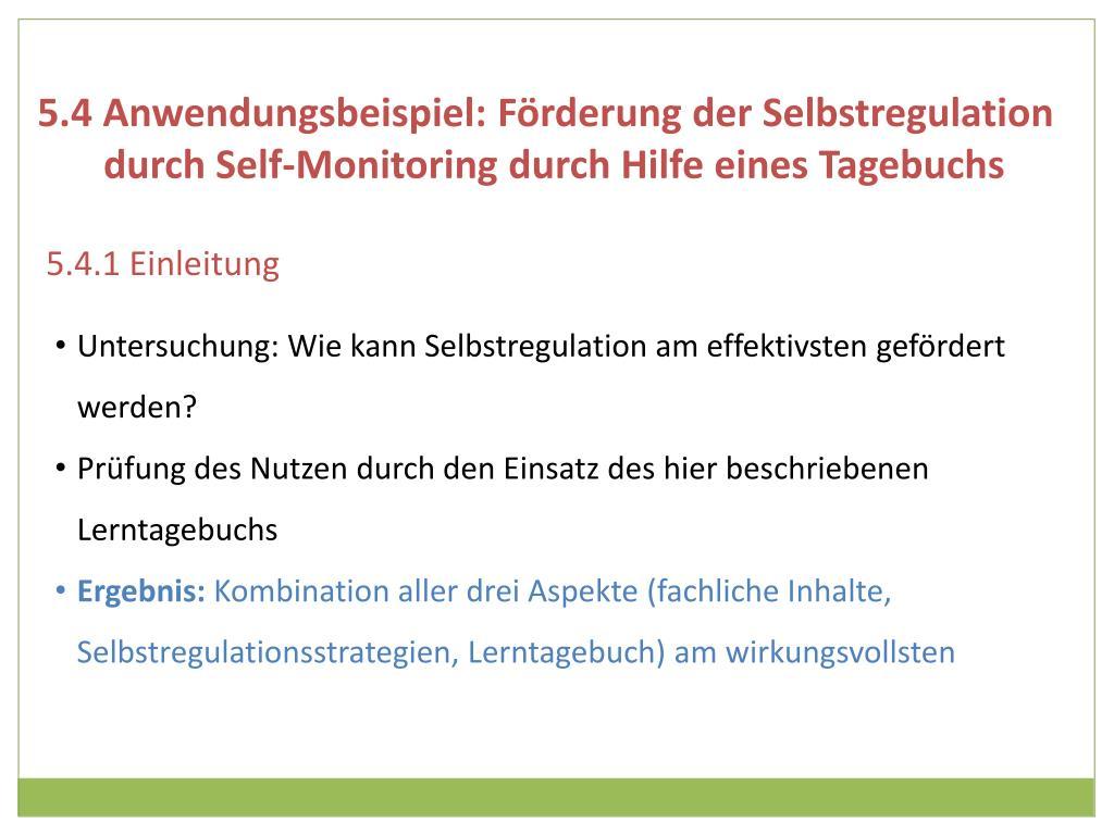 5.4 Anwendungsbeispiel: Förderung der Selbstregulation durch Self-Monitoring durch Hilfe eines Tagebuchs
