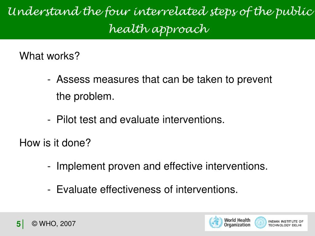 Understand the four interrelated steps of the public health approach
