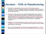 literature xml in manufacturing