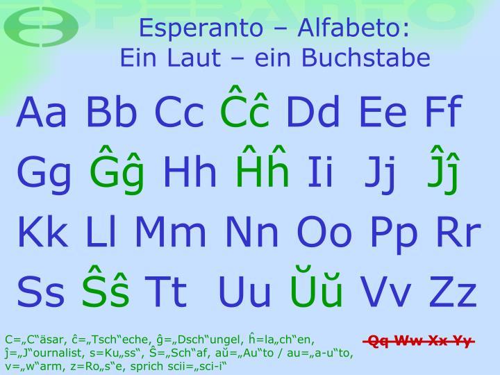 Esperanto alfabeto ein laut ein buchstabe