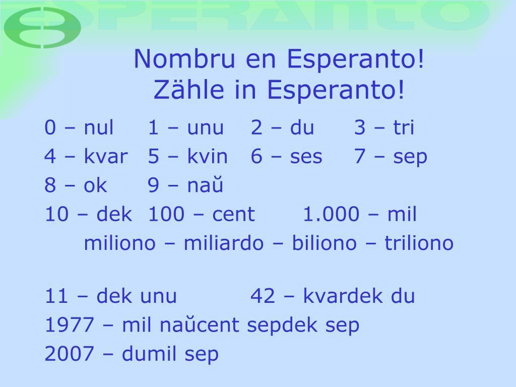 Nombru en Esperanto!