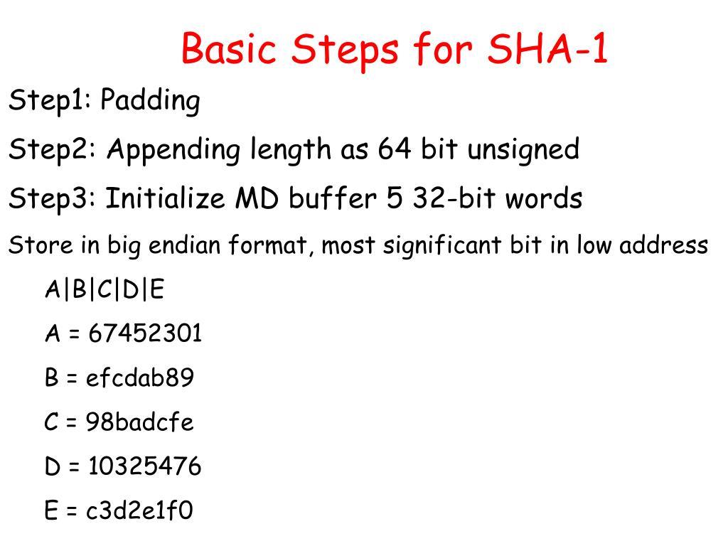 Basic Steps for SHA-1
