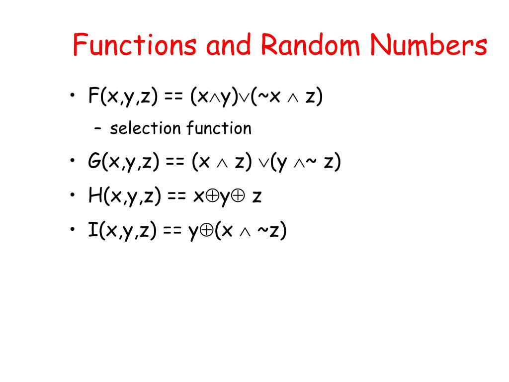Functions and Random Numbers