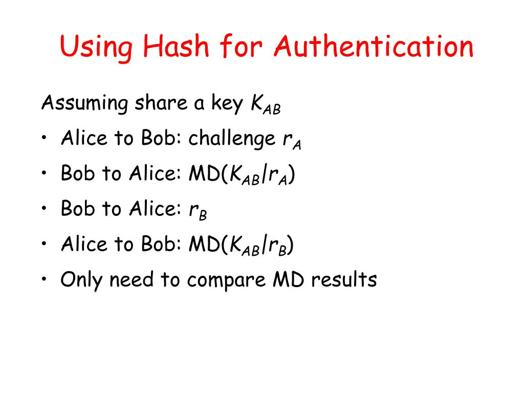 Using Hash for Authentication