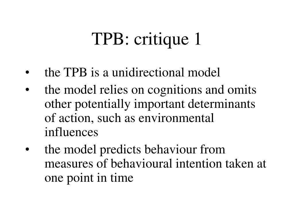 TPB: critique 1
