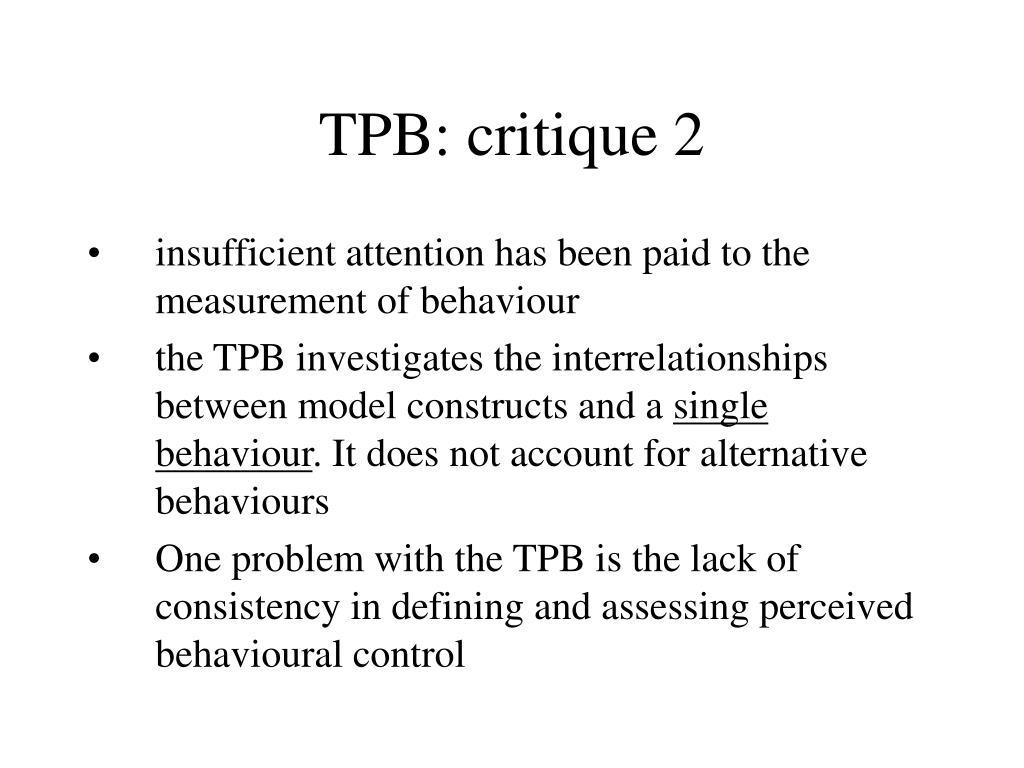 TPB: critique 2