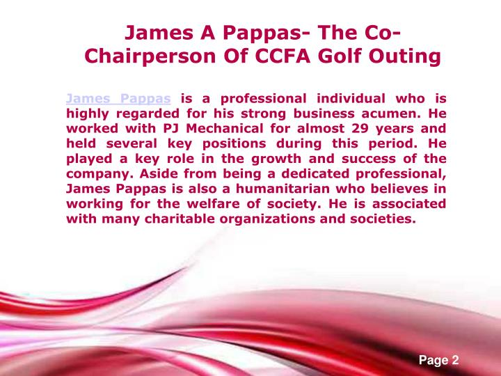 James A Pappas- The Co-Chairperson Of CCFA Golf Outing