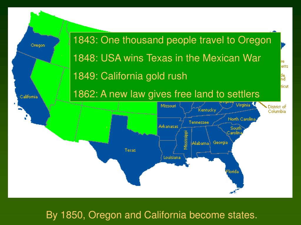 1843: One thousand people travel to Oregon