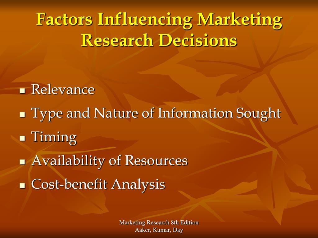 Factors Influencing Marketing Research Decisions