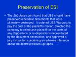 preservation of esi60
