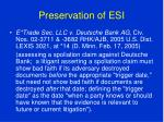 preservation of esi61