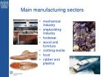 main manufacturing sectors