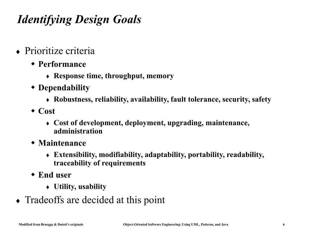 Identifying Design Goals