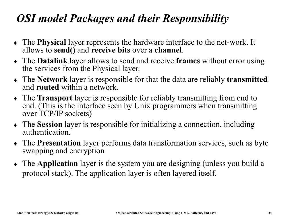 OSI model Packages and their Responsibility