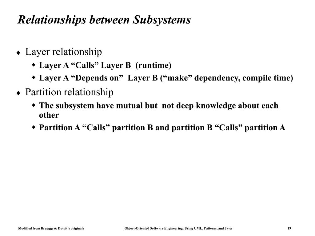 Relationships between Subsystems