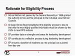 rationale for eligibility process