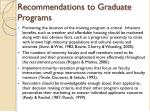 recommendations to graduate programs