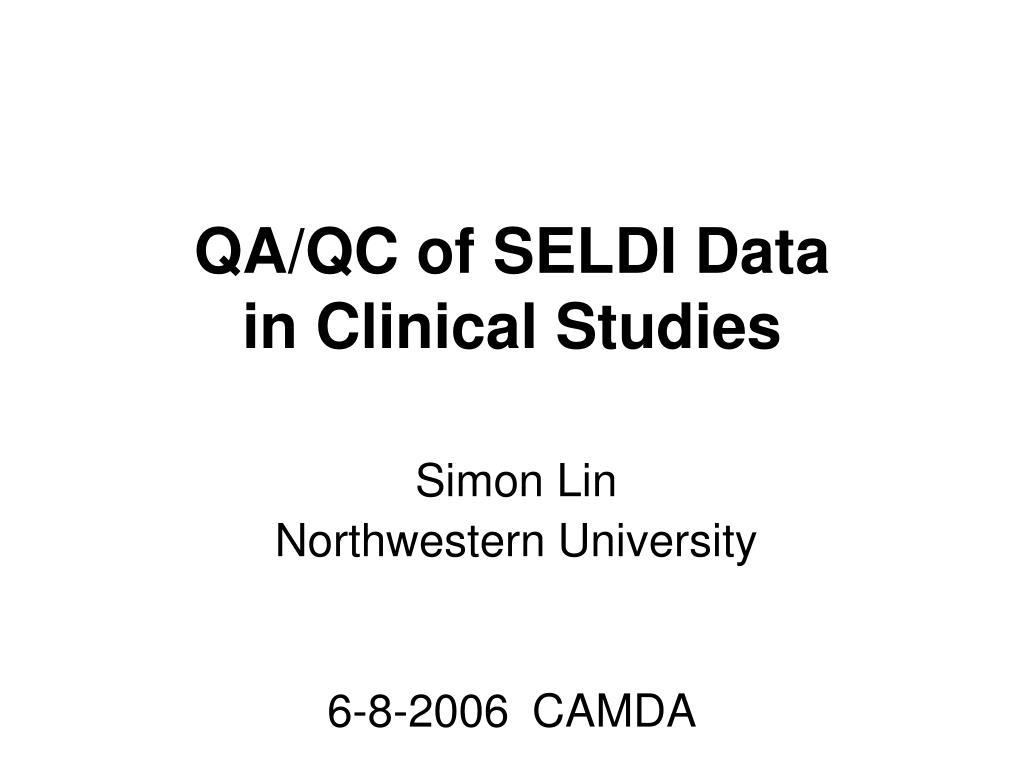 QA/QC of SELDI Data