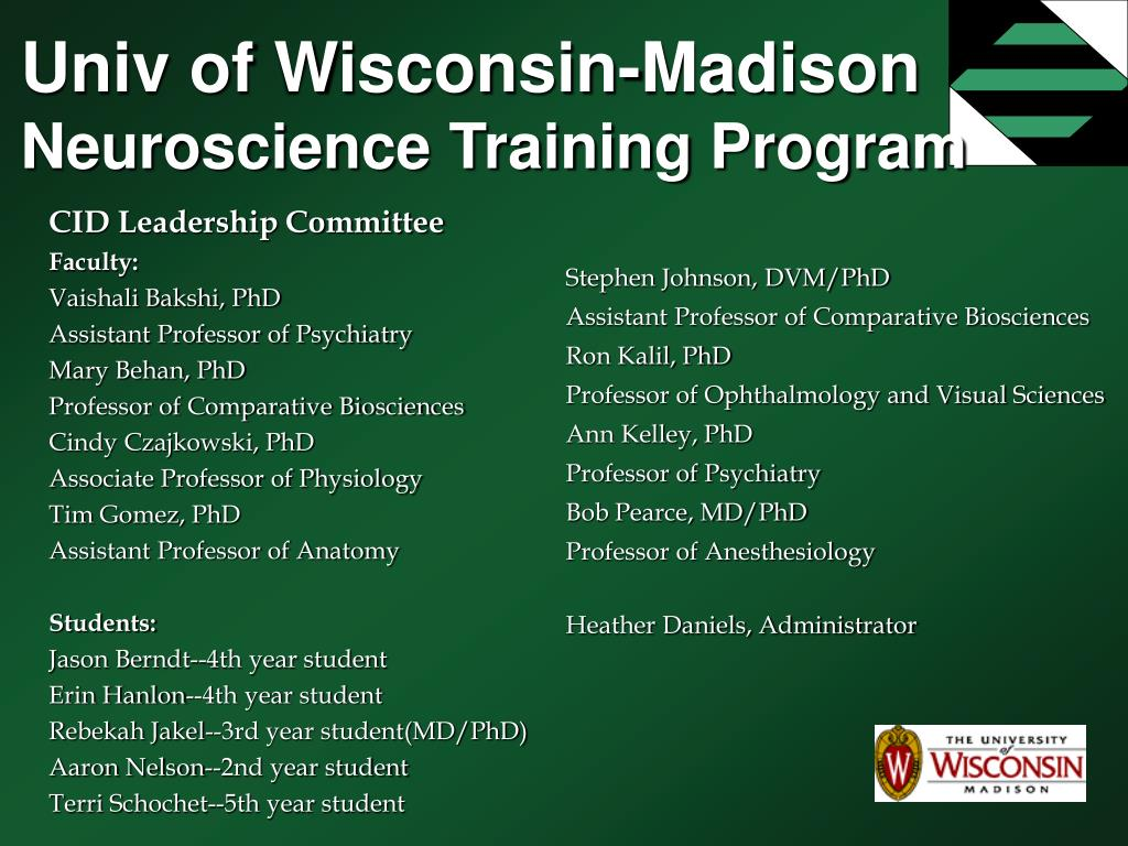 univ of wisconsin madison neuroscience training program l.
