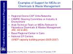 examples of support for meas on chemicals waste management