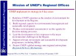 mission of unep s regional offices