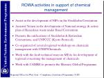 rowa activities in support of chemical management
