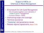 support of meas on chemicals waste management