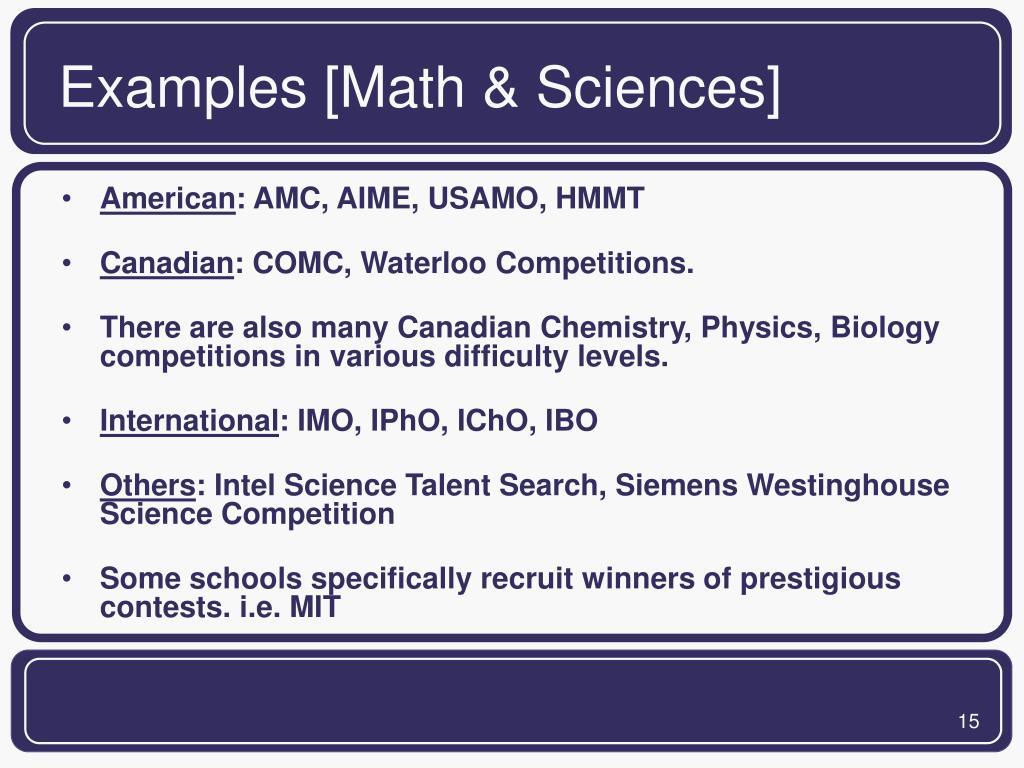 Examples [Math & Sciences]