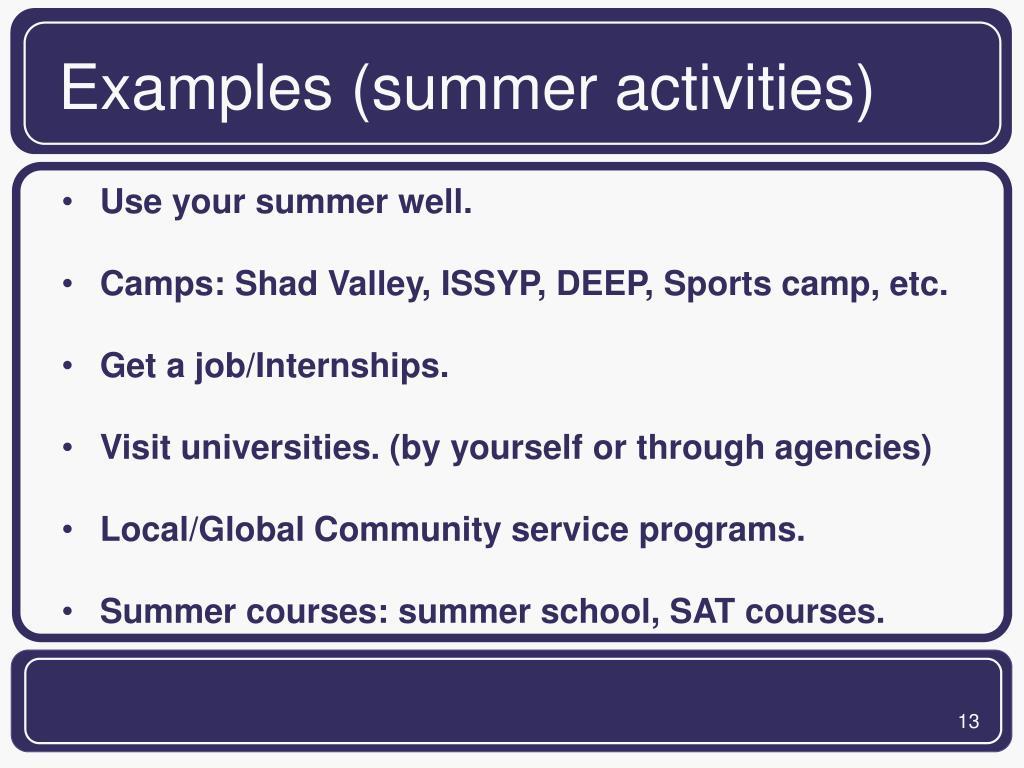 Examples (summer activities)