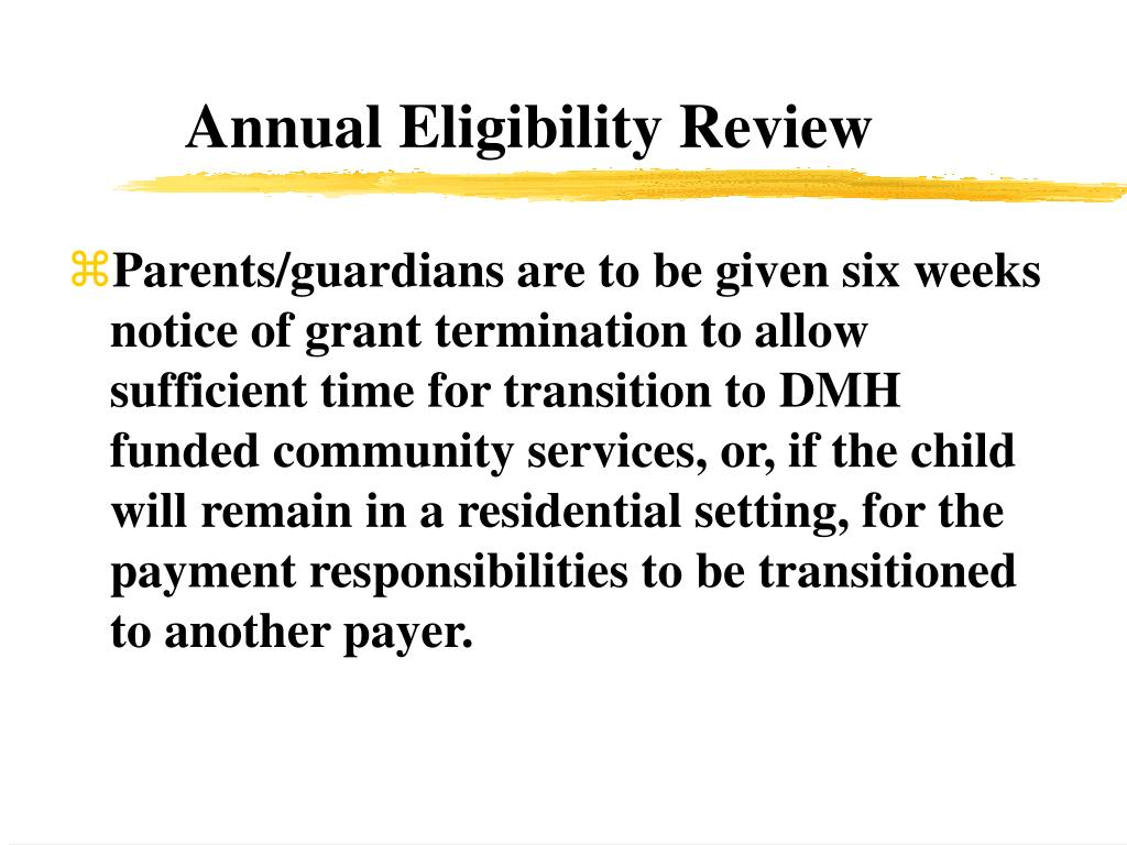 Annual Eligibility Review