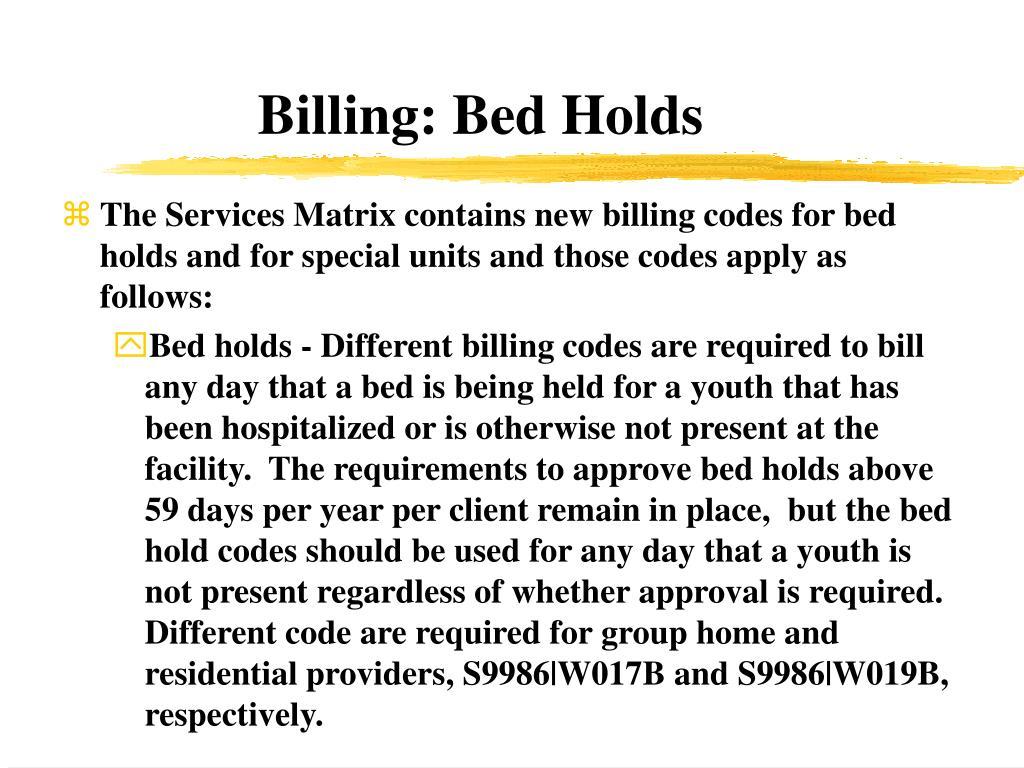 Billing: Bed Holds