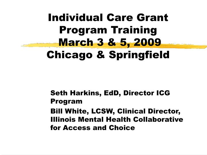 Individual care grant program training march 3 5 2009 chicago springfield