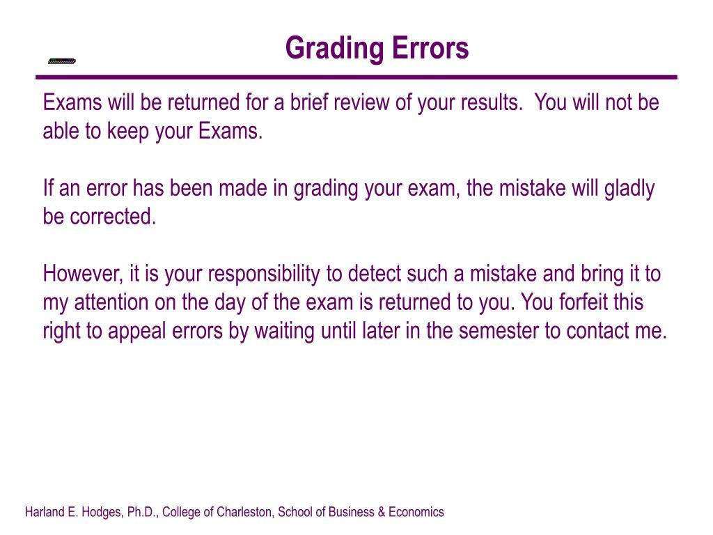 Grading Errors