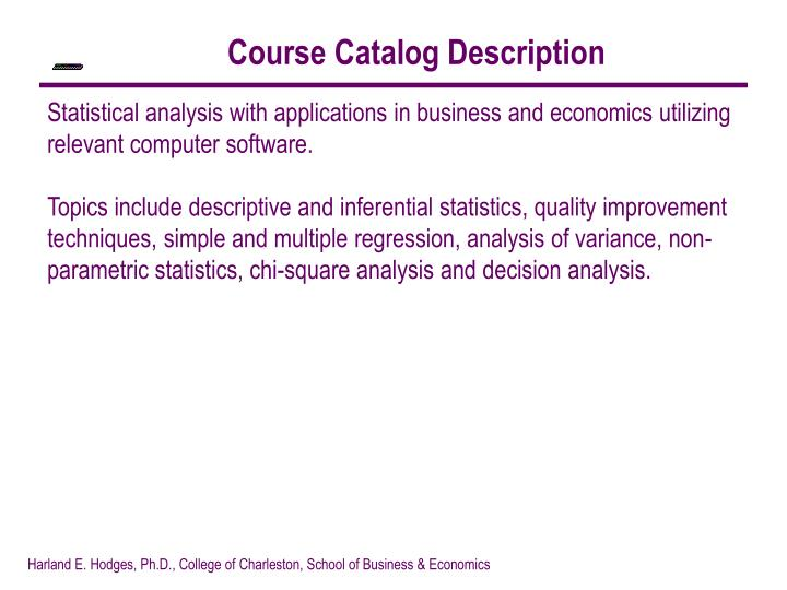 Course Catalog Description