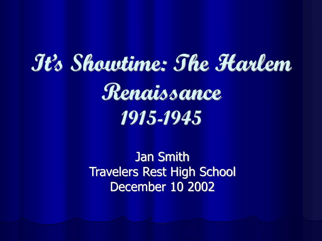 It's Showtime: The Harlem Renaissance