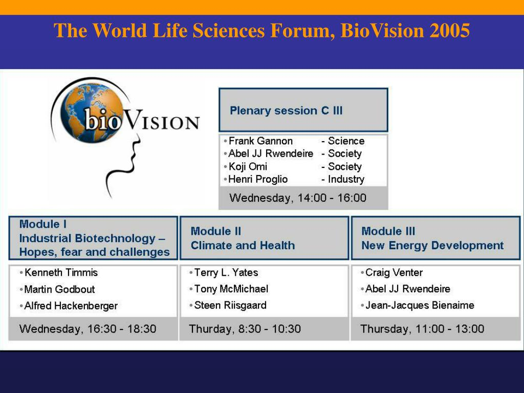 The World Life Sciences Forum, BioVision 2005